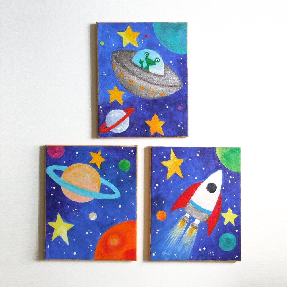 Most Recent Kids Wall Art, Space Art Set, Set Of 3 8X10 Acrylic Canvases Intended For Childrens Wall Art Canvas (View 11 of 15)