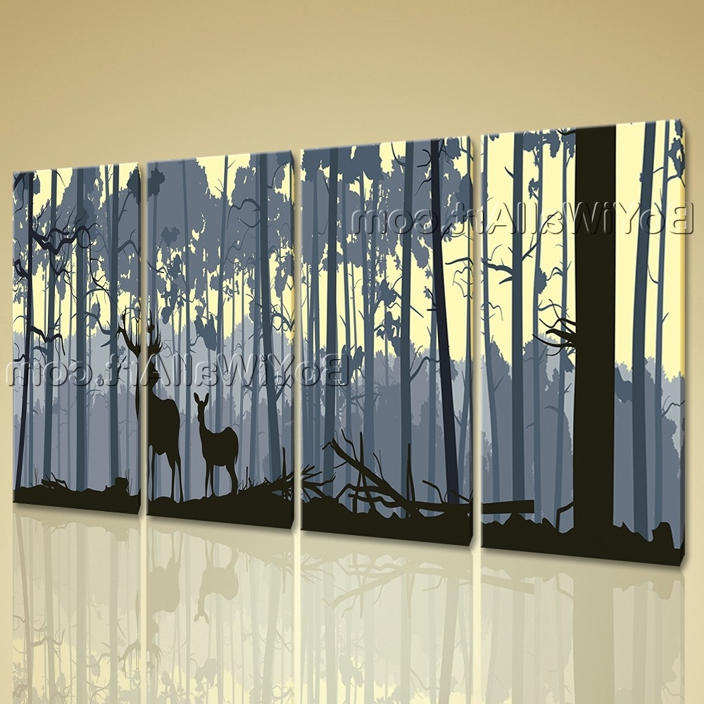 Most Recent Large Contemporary Wall Art In Extra Large Deer Forest Trees Animal Contemporary Wall Art Print (View 10 of 15)