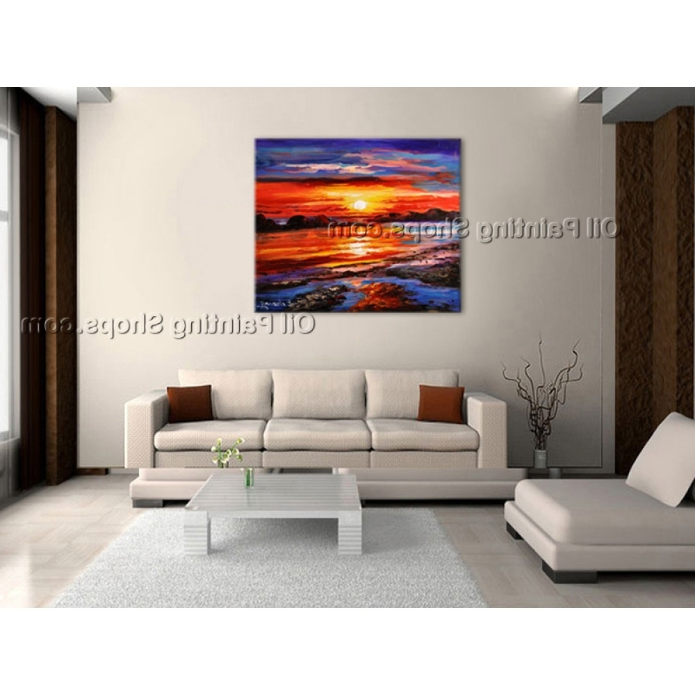 Most Recent Large Contemporary Wall Art Intended For Amazing Contemporary Wall Art Seascape Painting Sunset Scenery (View 11 of 15)