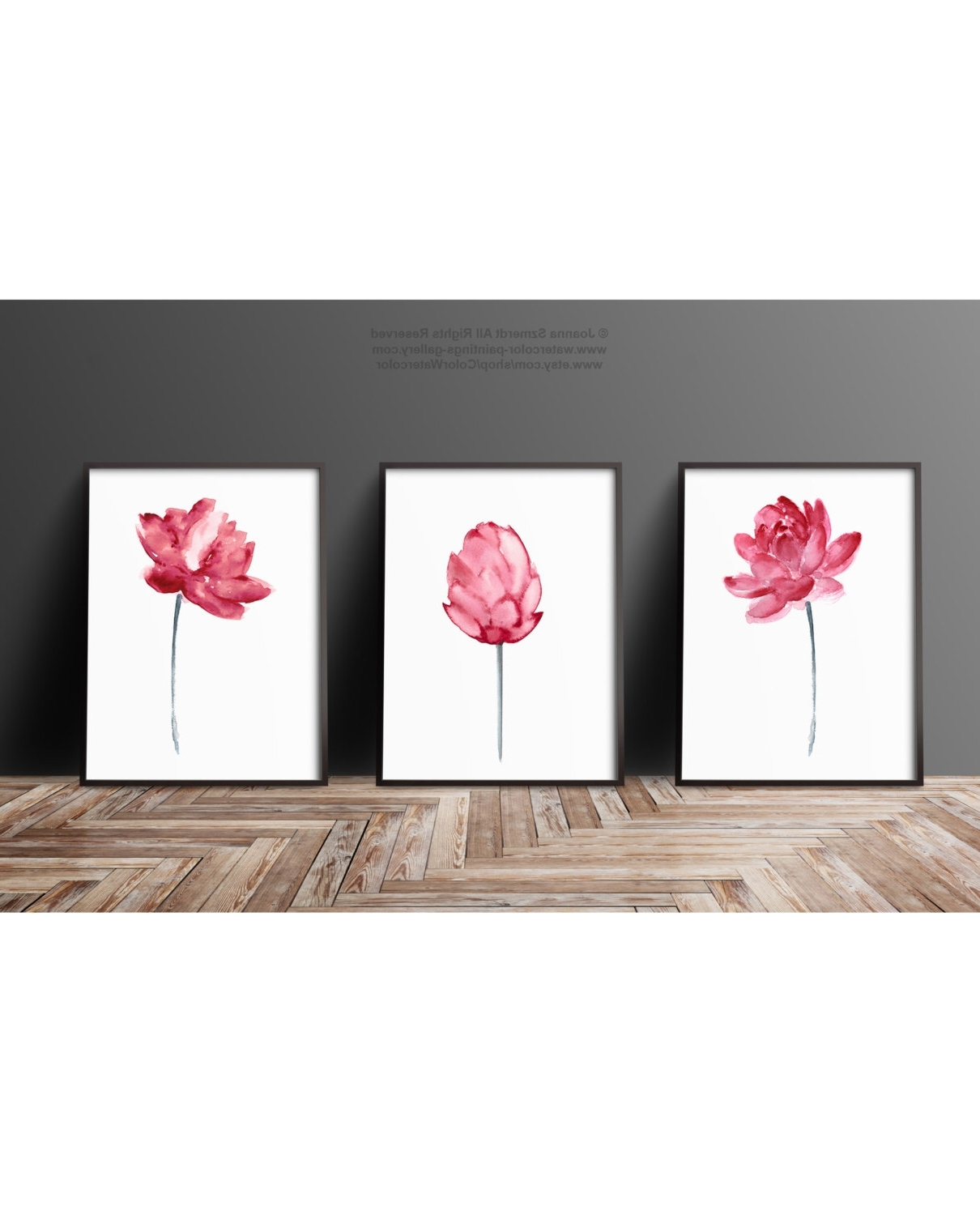 Most Recent Lotus Flower Pink Wall Art, Blooming Lotus Watercolor Painting Set Pertaining To 3 Piece Floral Wall Art (View 12 of 15)
