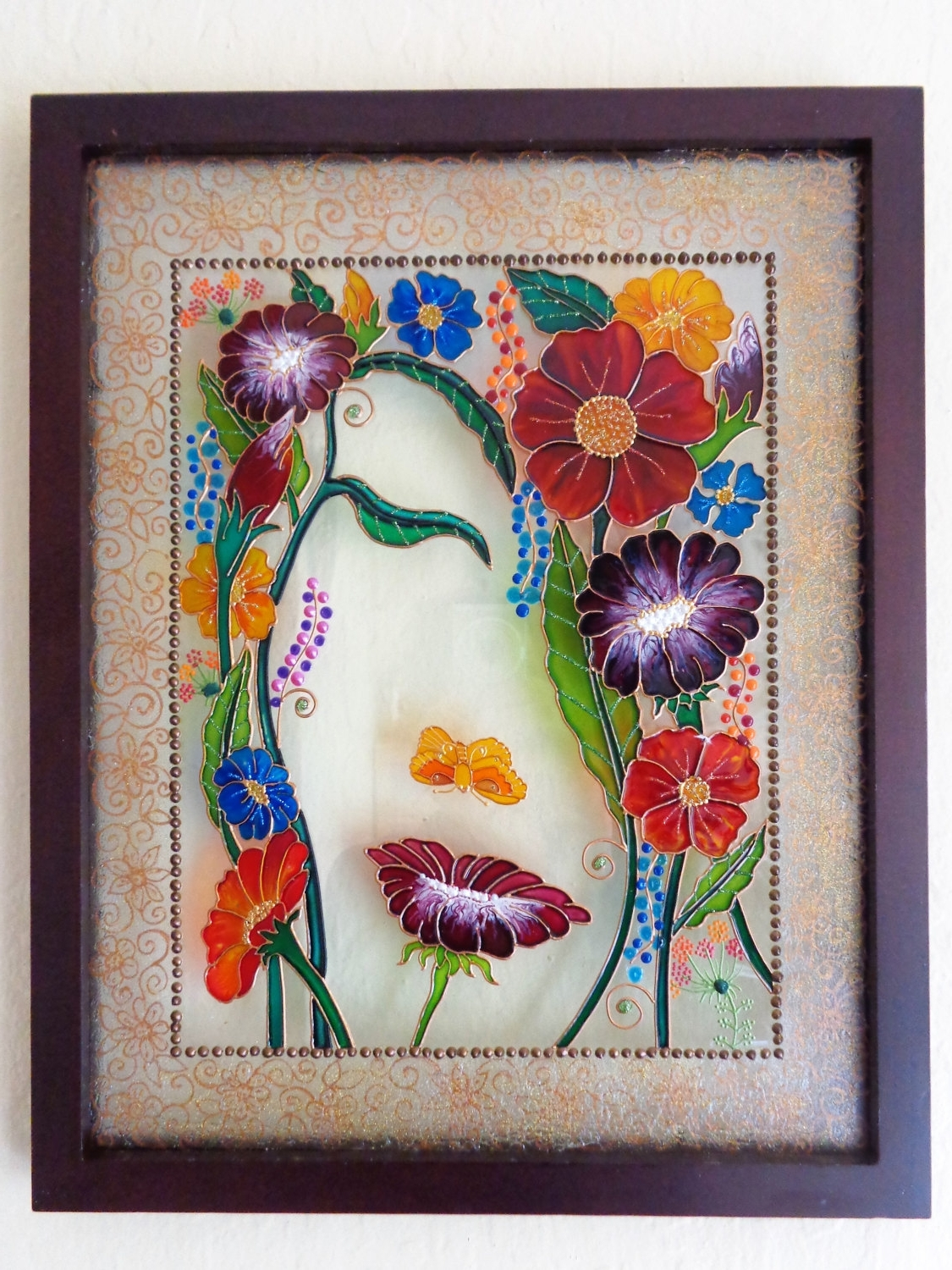 "Most Recent Modern Glass Wall Art In Reserved For Tanya Flower Art 15""x12"" Glass Painting Bohemian (View 11 of 15)"