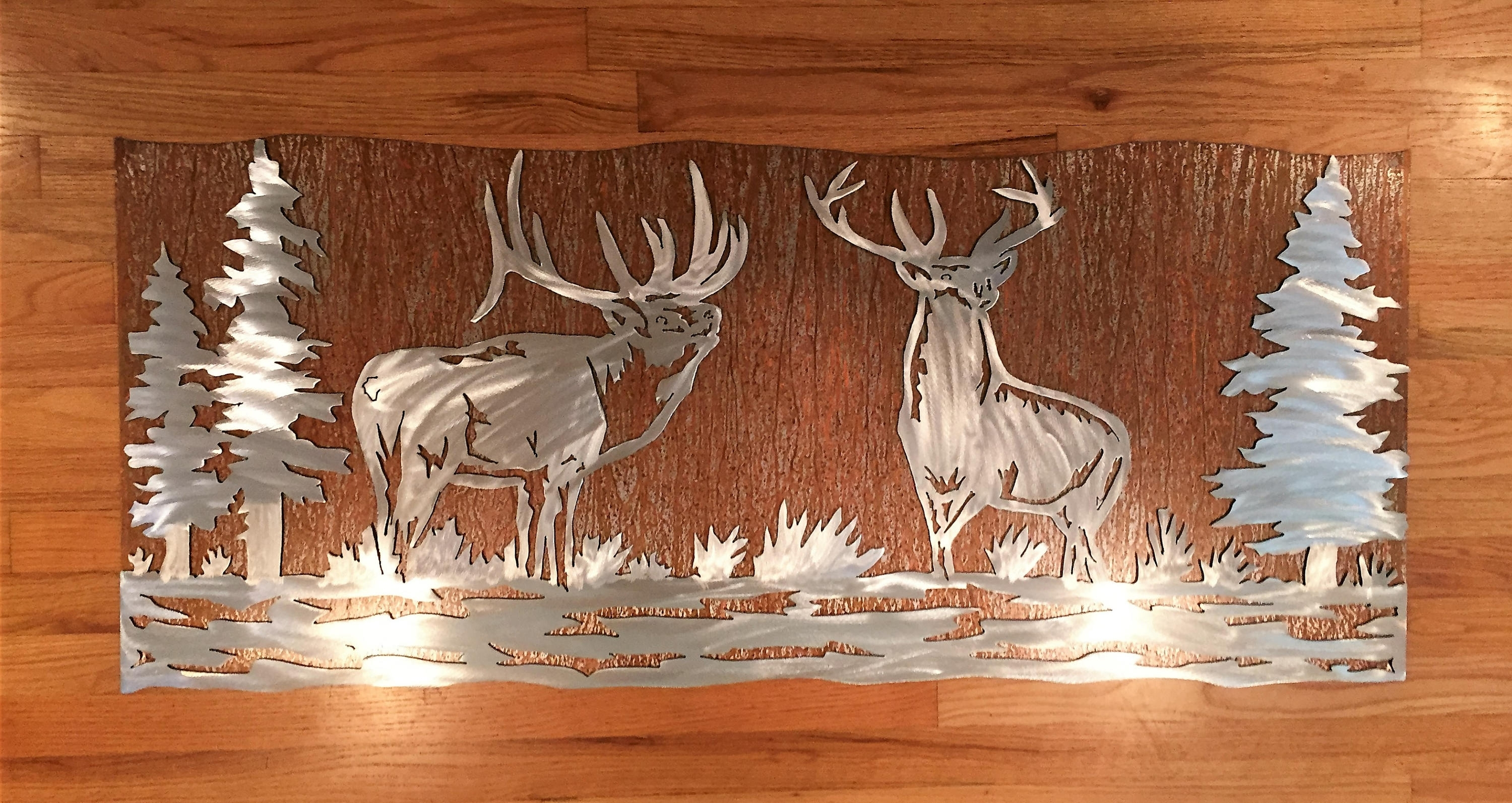 Most Recent Mountain Scene Metal Wall Art Within Elk Artwork (View 5 of 15)