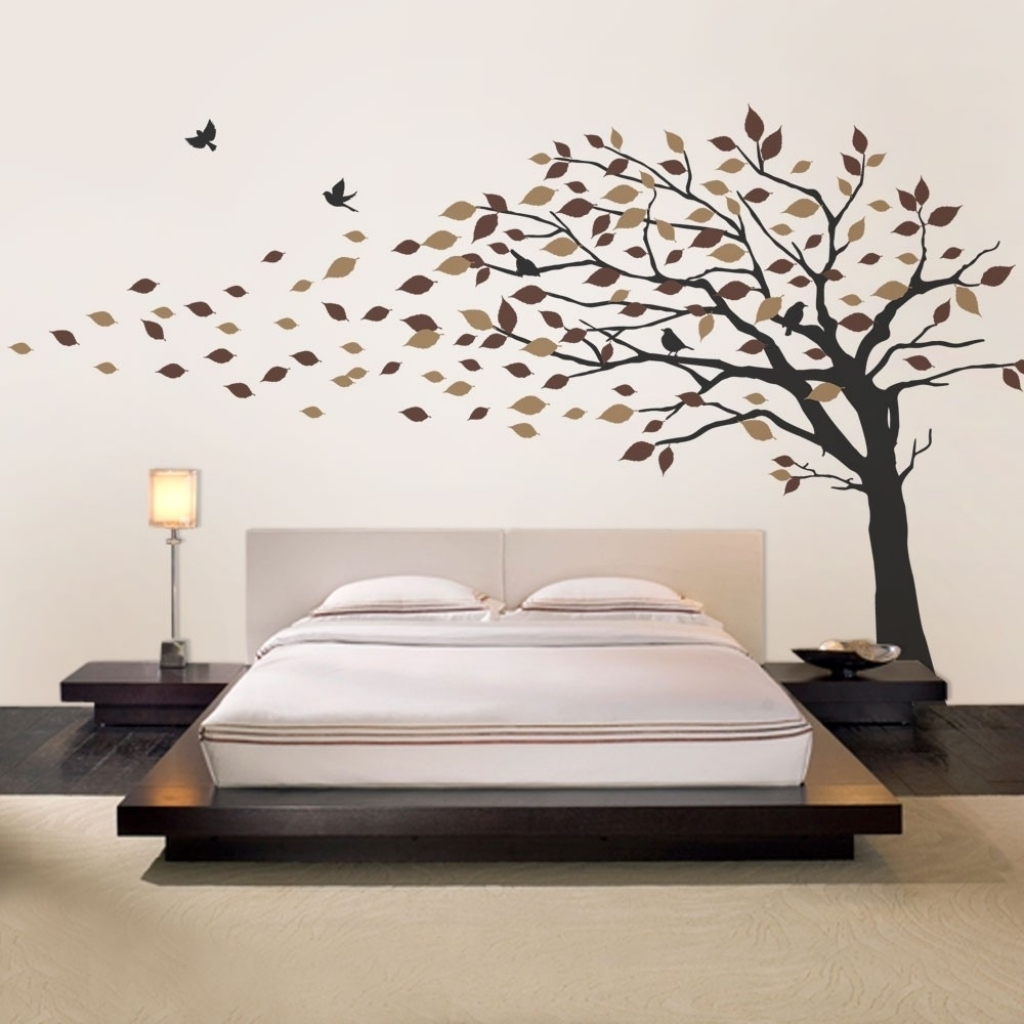 Most Recent Oak Tree Vinyl Wall Art Inside Blowing Leaves Tree Decal Scheme B Throughout Wall Decal Stickers (View 5 of 15)