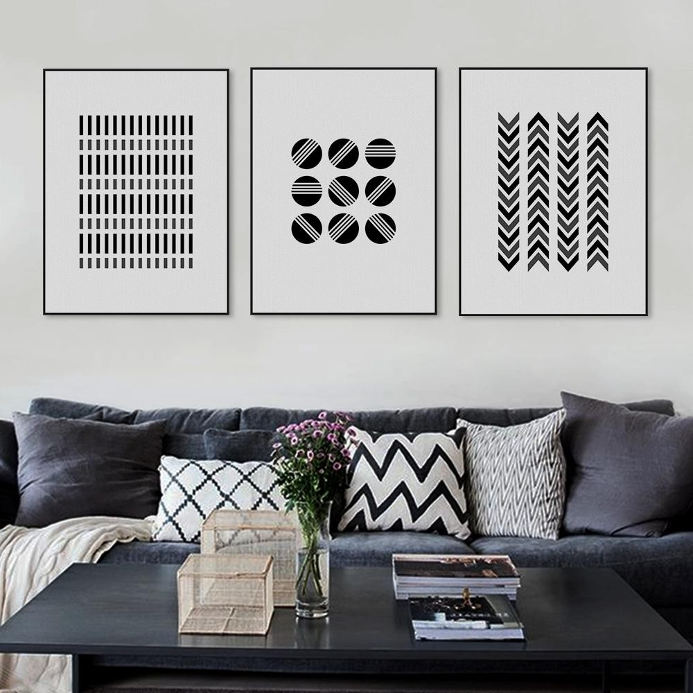 Most Recent Online Shop Modern Abstract Black White Geometric Shape Canvas Regarding Large Black And White Wall Art (View 11 of 15)