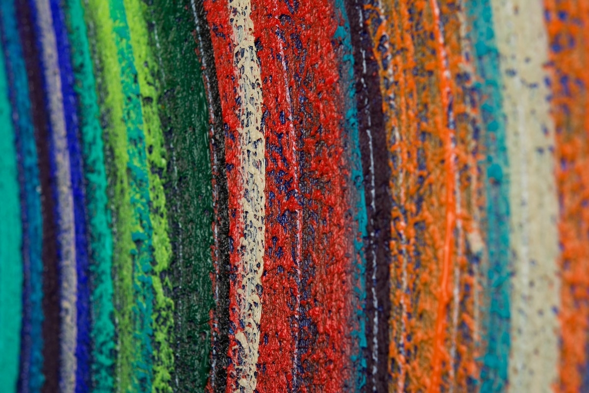 "Most Recent Orange And Turquoise Wall Art Regarding Spring Wave 5Qiqigallery 72""x18"" Original Modern Abstract Wall (View 6 of 15)"