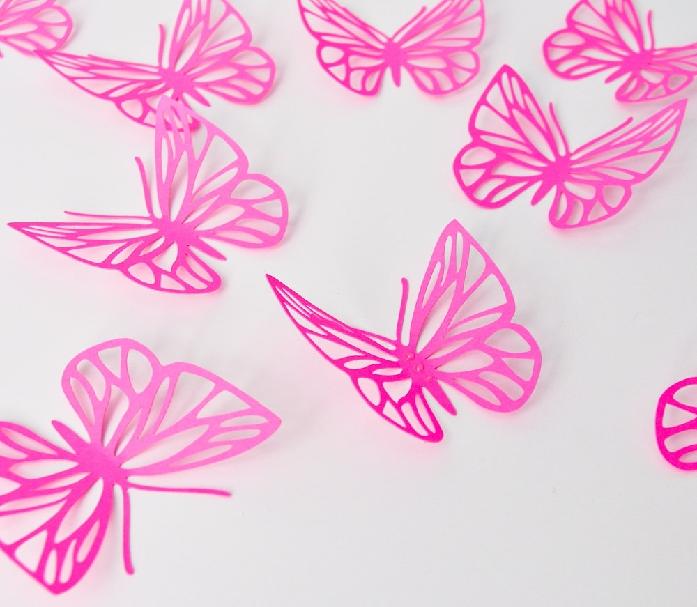 Most Recent Pink Butterfly Wall Art Within Fuchsia Pink Butterflies Wall Art, Large Paper Butterflies, 3D (View 8 of 15)