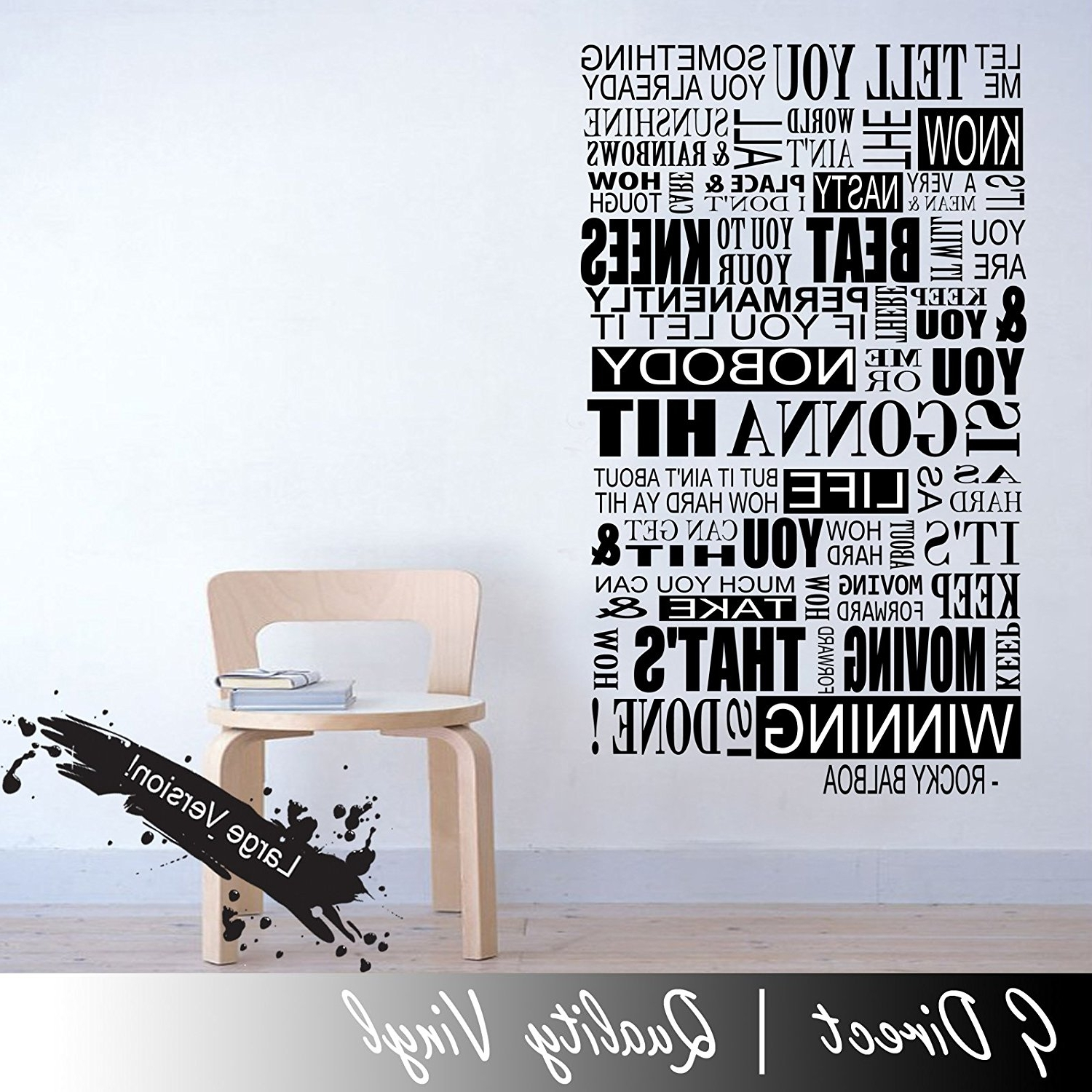 Most Recent Rocky Balboa Mural Inspirational Quote Wall Sticker Bedroom Home Inside Rocky Balboa Wall Art (View 5 of 15)