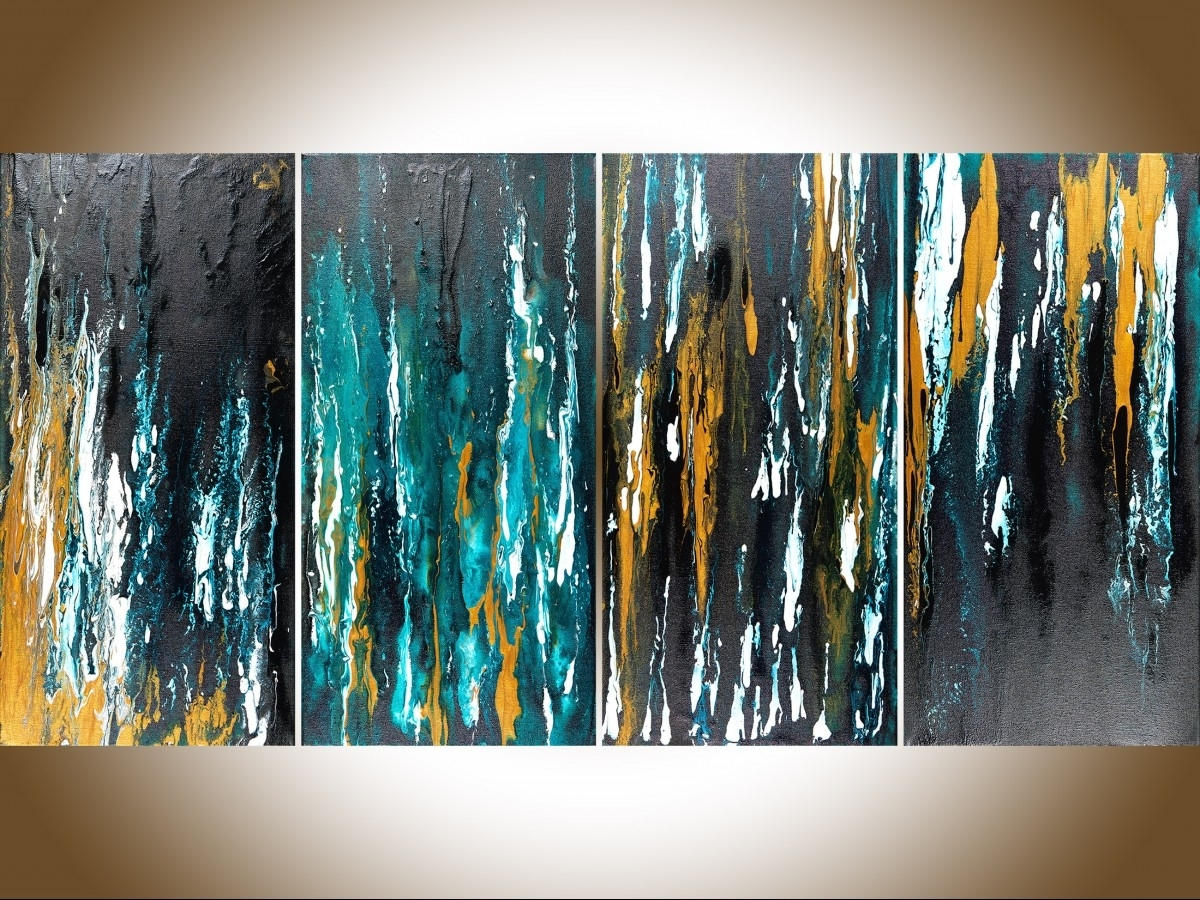 "Most Recent Teal And Gold Wall Art In Meteor Shower Iiqiqigallery 48""x24"" Original Modern Abstract (View 3 of 15)"