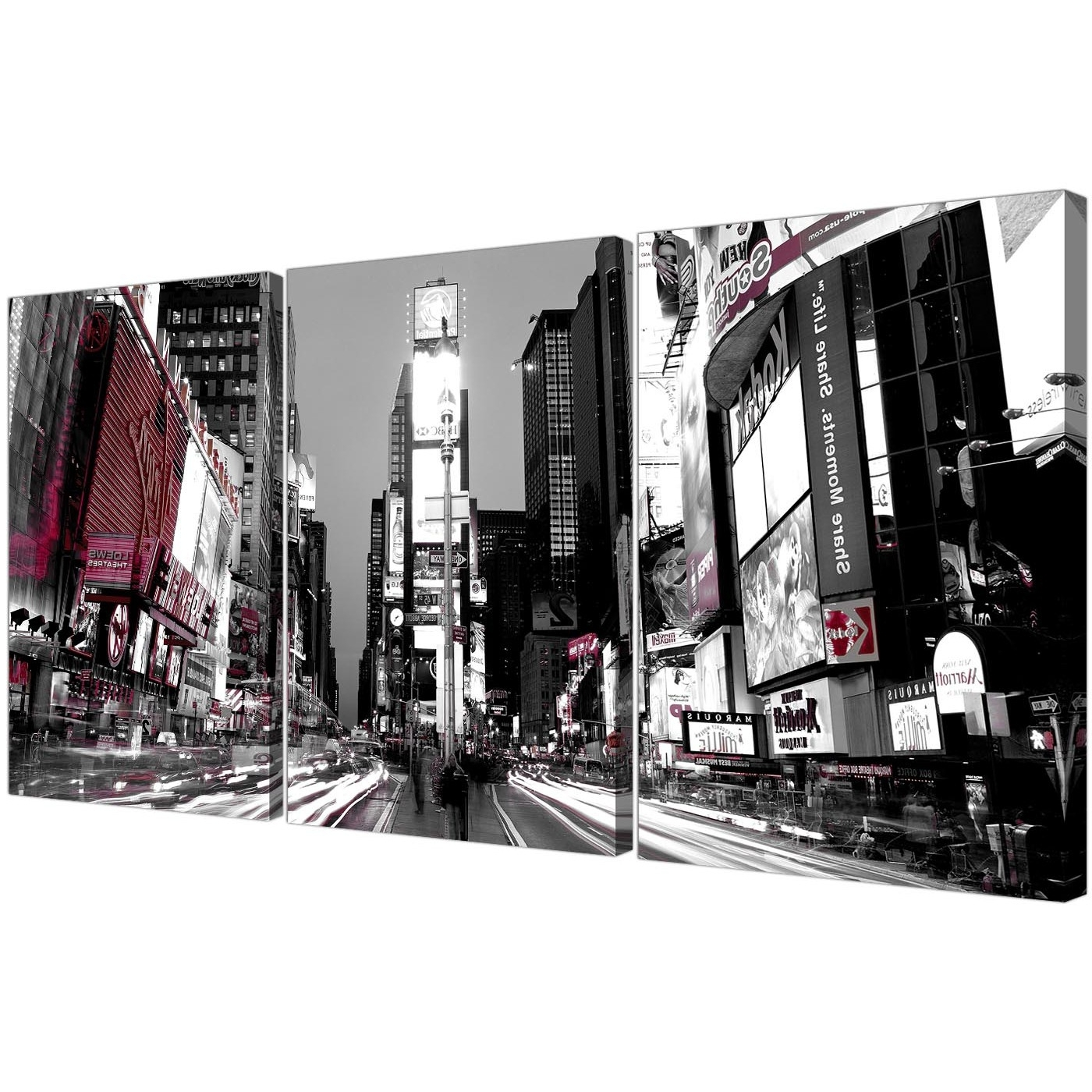 Most Recent Times Square New York Canvas Wall Art Set Of 3 For Your Bedroom In Black And White New York Canvas Wall Art (View 12 of 15)