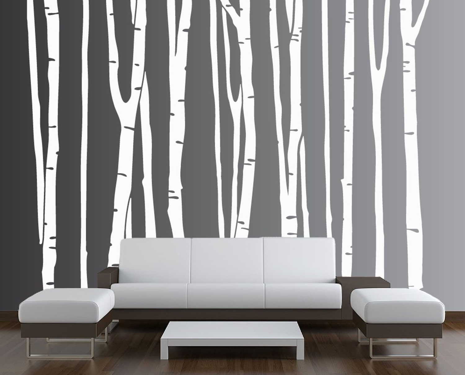 Most Recent Vinyl Wall Art Tree With Regard To Innovative Stencils 1109 96 White Large Wall Birch Tree Decal (View 7 of 15)