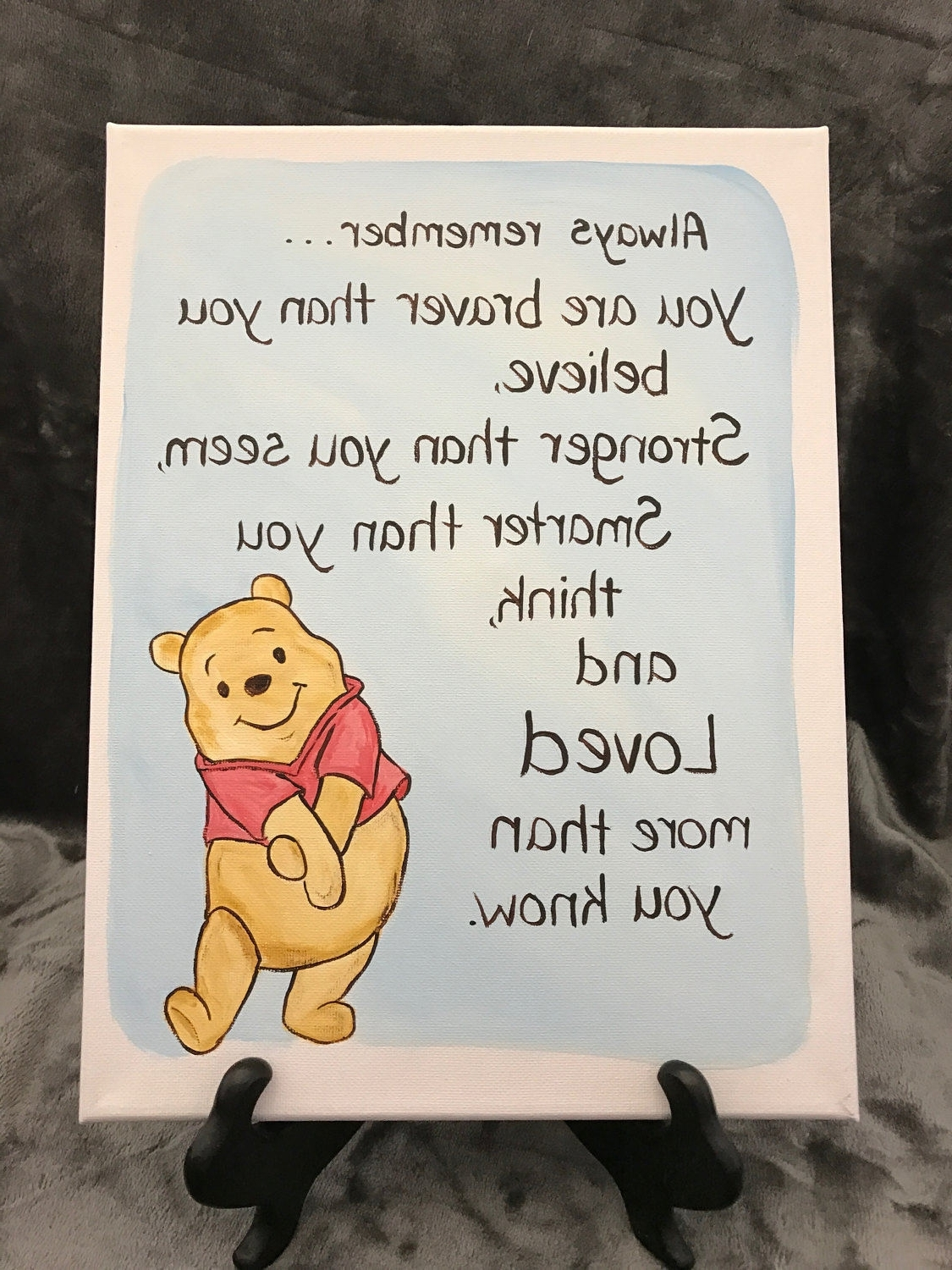 Most Recent Winnie The Pooh Nursery Quotes Wall Art Throughout Classic Winnie The Pooh Quote Art Encouragement Brave Going Away (View 4 of 15)