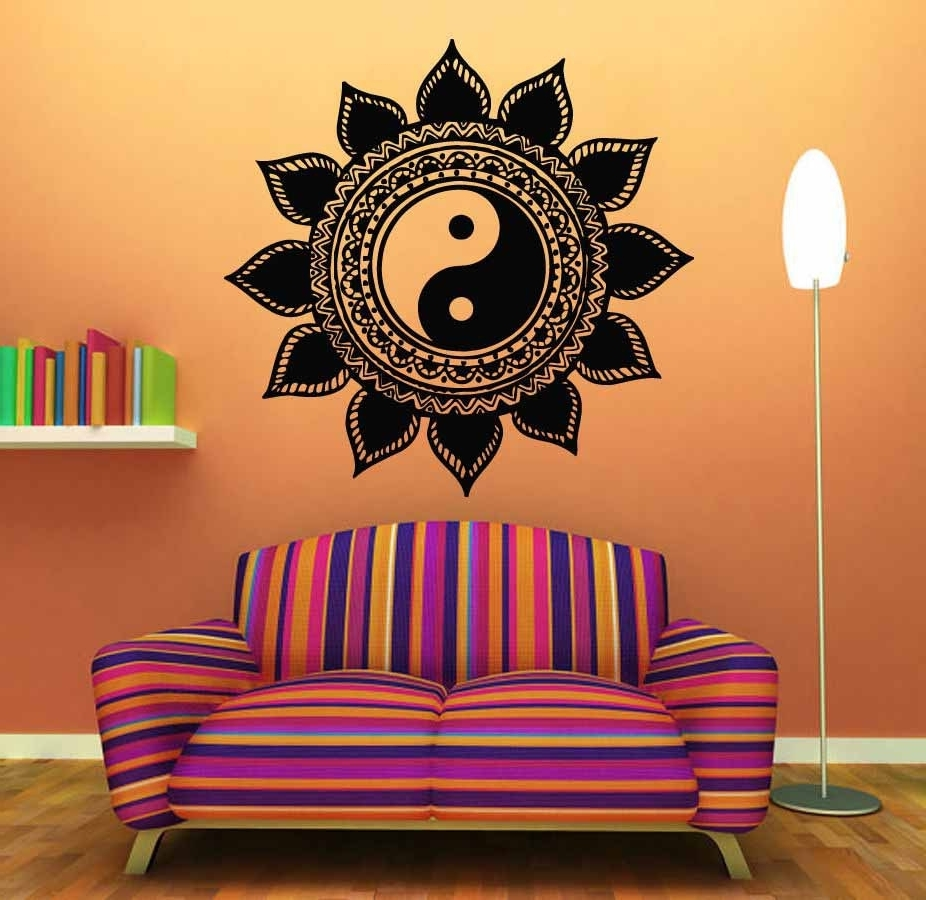Most Recent Yin Yang Wall Art Pertaining To Mandala Wall Sticker Home Decal Buddha Yin Yang Floral Yoga (View 5 of 15)