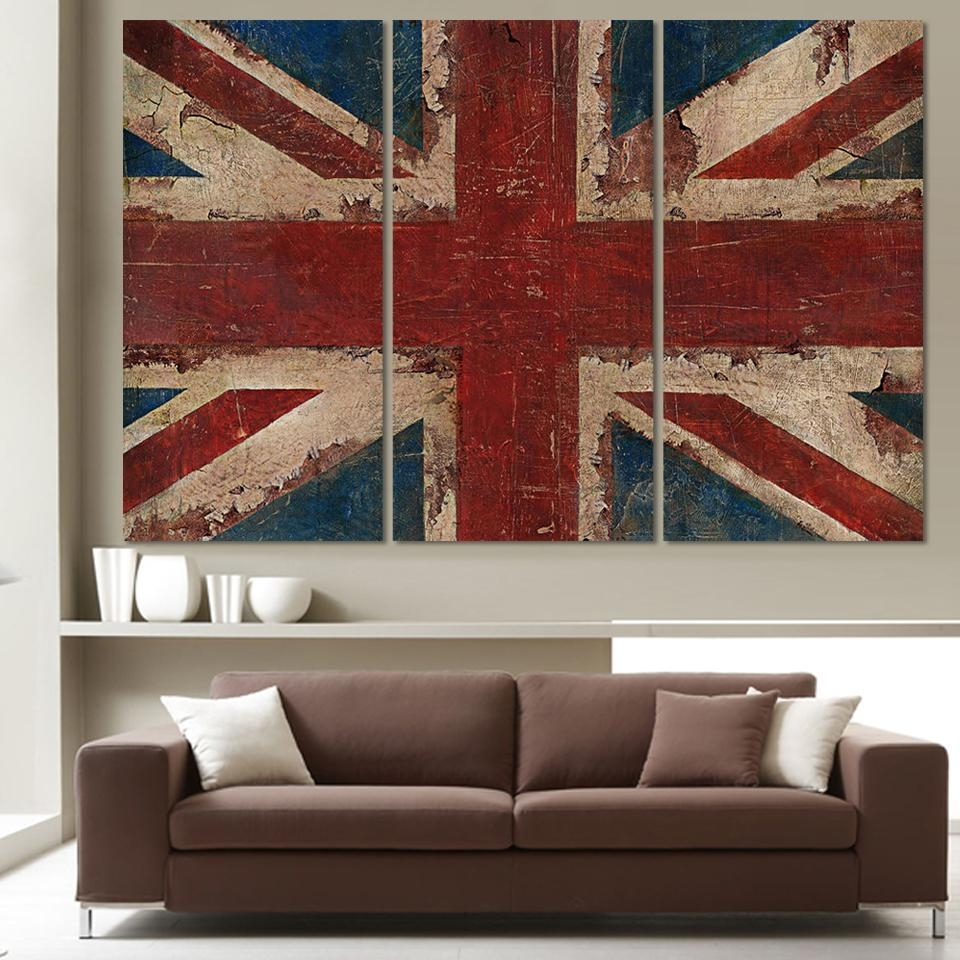 Most Recently Released 3 Piece The Union Flag In Red White And Blue Painting On Canvas With Regard To Red White And Blue Wall Art (View 3 of 15)