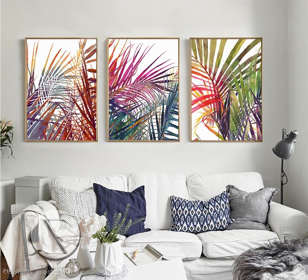 Most Recently Released Abstract Leaves Wall Art Throughout 2018 3 Plant Leaves Lines Abstract Art Canvas Poster Collage (View 9 of 15)