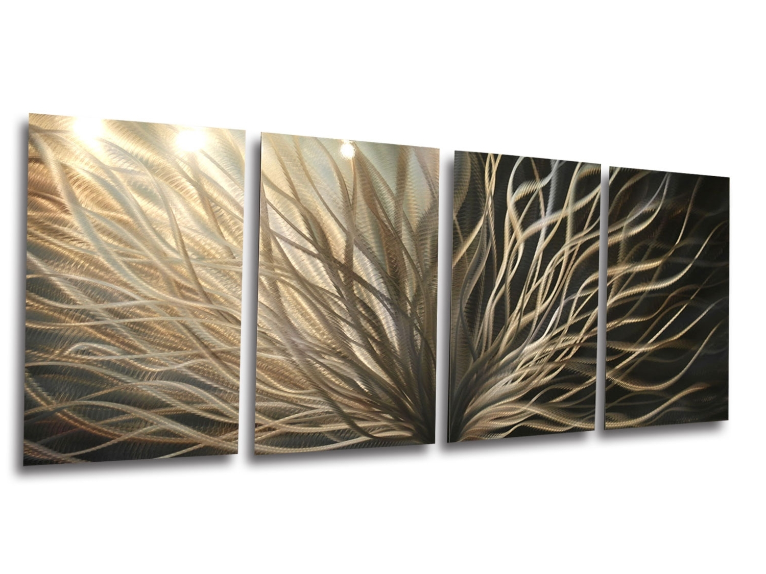 Most Recently Released Abstract Metal Wall Art  Radiance Gold Silver  Contemporary Modern Pertaining To Abstract Leaf Metal Wall Art (View 11 of 15)