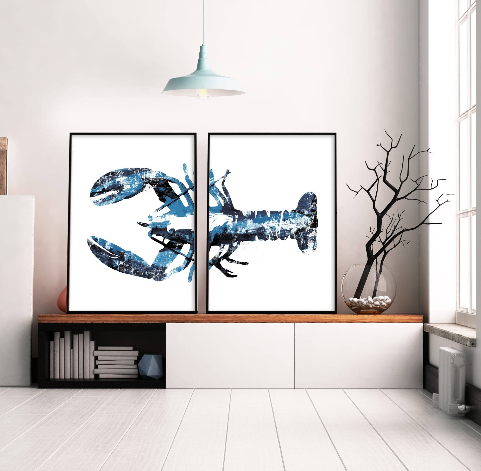 Most Recently Released Abstract Nautical Wall Art Intended For Set Of 2 Prints, Navy Blue Art, Lobster Print, Large Wall Art (View 8 of 15)