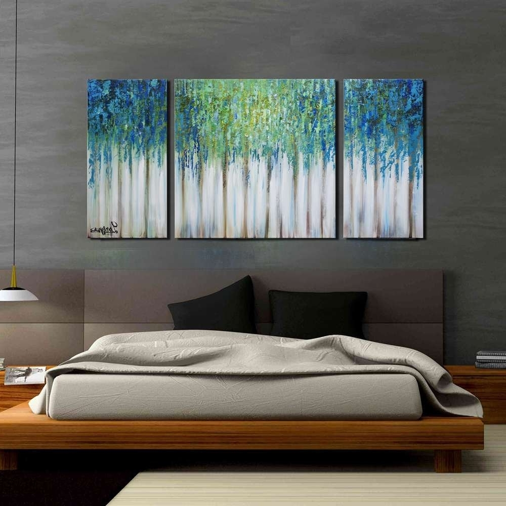 Most Recently Released Amazon: Artland Hand Painted 24X48 Inch 'blue Memory'3 Piece Pertaining To 3 Piece Abstract Wall Art (View 11 of 15)