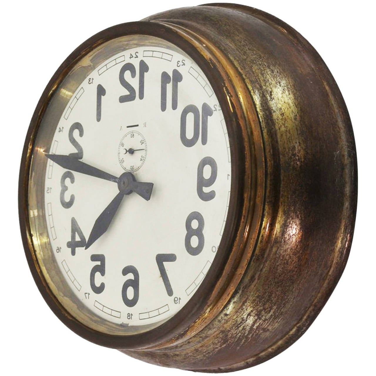 Most Recently Released Art Deco Wall Clocks Throughout Brass Art Deco Wall  Clock At 1Stdibs (