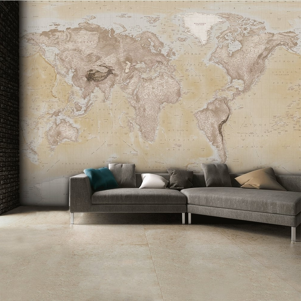 Most Recently Released Atlas Wall Art Pertaining To 1 Wall Neutral World Map Atlas Wallpaper Mural Wall Art 315Cm X (View 6 of 15)