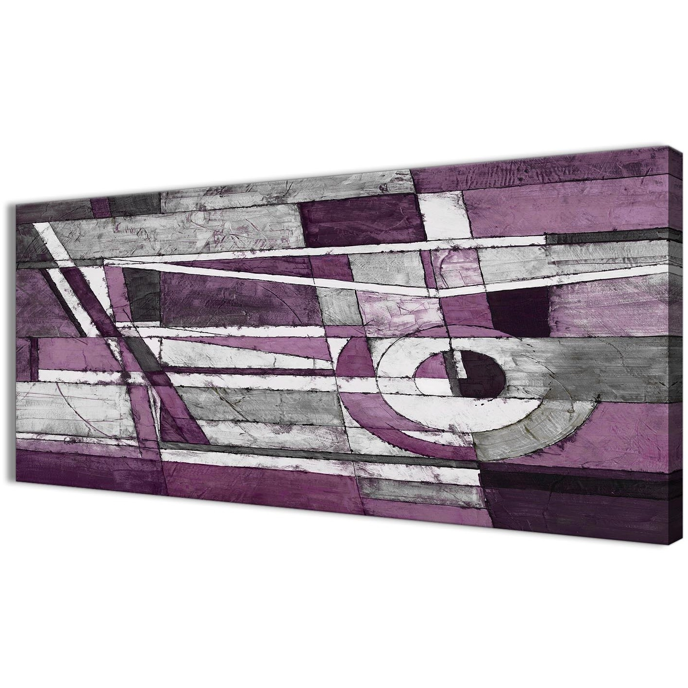 Most Recently Released Aubergine Grey White Painting Living Room Canvas Wall Art In Aubergine Wall Art (View 12 of 15)