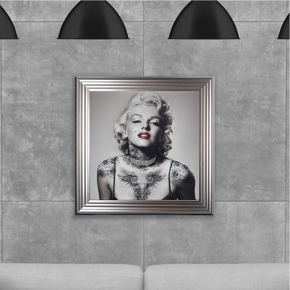 Most Recently Released Biggon Marilyn Monroe With Tattoos Made With Liquid Glass And Pertaining To Marilyn Monroe Framed Wall Art (View 11 of 15)