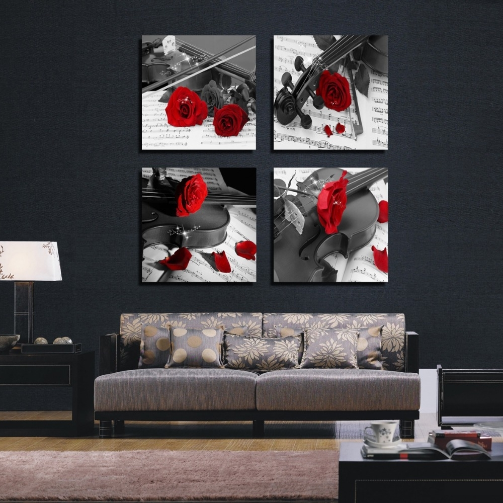 Most Recently Released Black And White Wall Art With Red Pertaining To 2018 Stretched Contemporary Abstract Oil Painting Canvas Black (View 2 of 15)