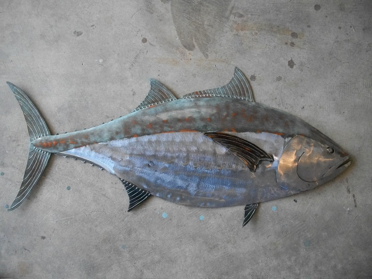 Most Recently Released Blue Fin Tuna Fish Metal Sculpture Tropical Beach Coastal Wall Art For Stainless Steel Fish Wall Art (View 7 of 15)