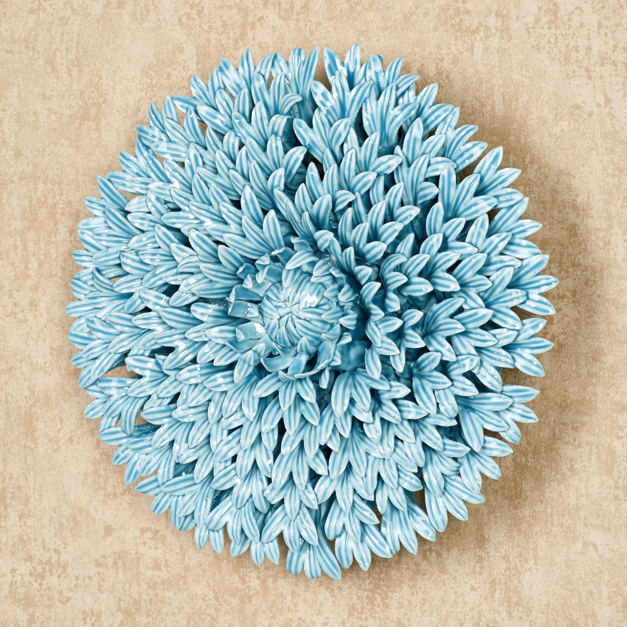 Most Recently Released Blue Wall Art, Blue Porcelain Flower Wall Art Ceramic Flower Wall Within Ceramic Flower Wall Art (View 10 of 15)