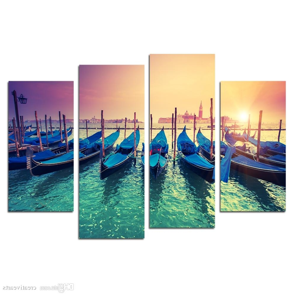 Most Recently Released Boat Wall Art With Regard To 2018 Modern Canvas Painting Wall Art Fishing Boat In Sunrise (View 9 of 15)