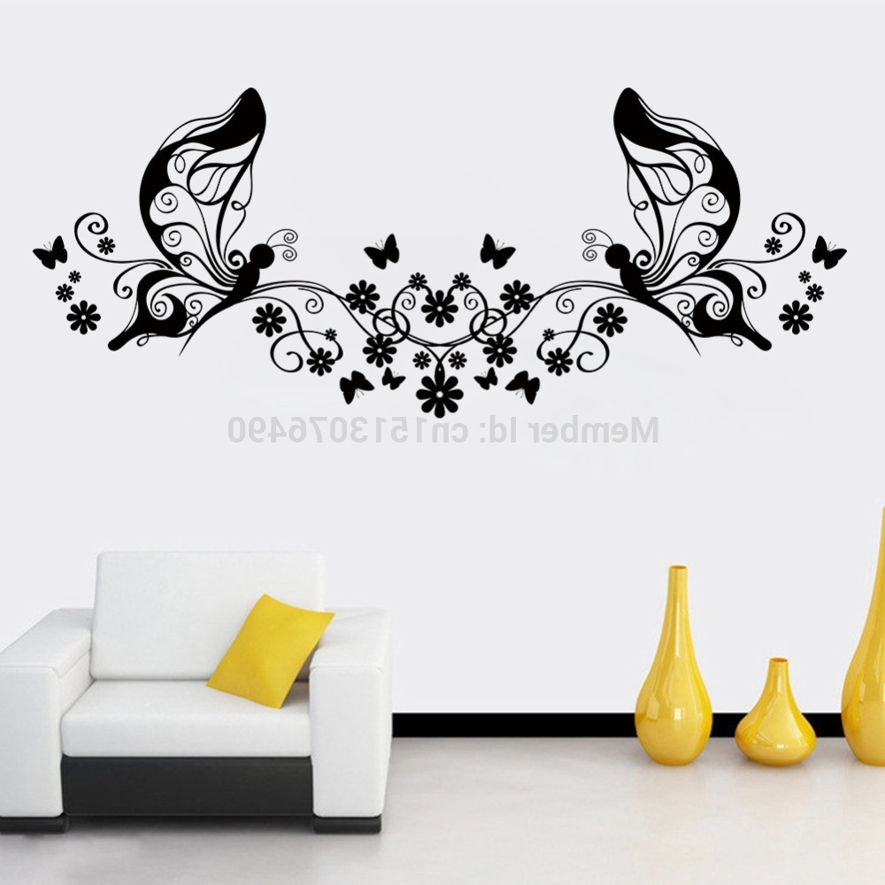 Most Recently Released Butterflies Wall Art Stickers For Hot Sellings 114*46cm Classical Black Flower Butterfly Wall Art (View 4 of 15)