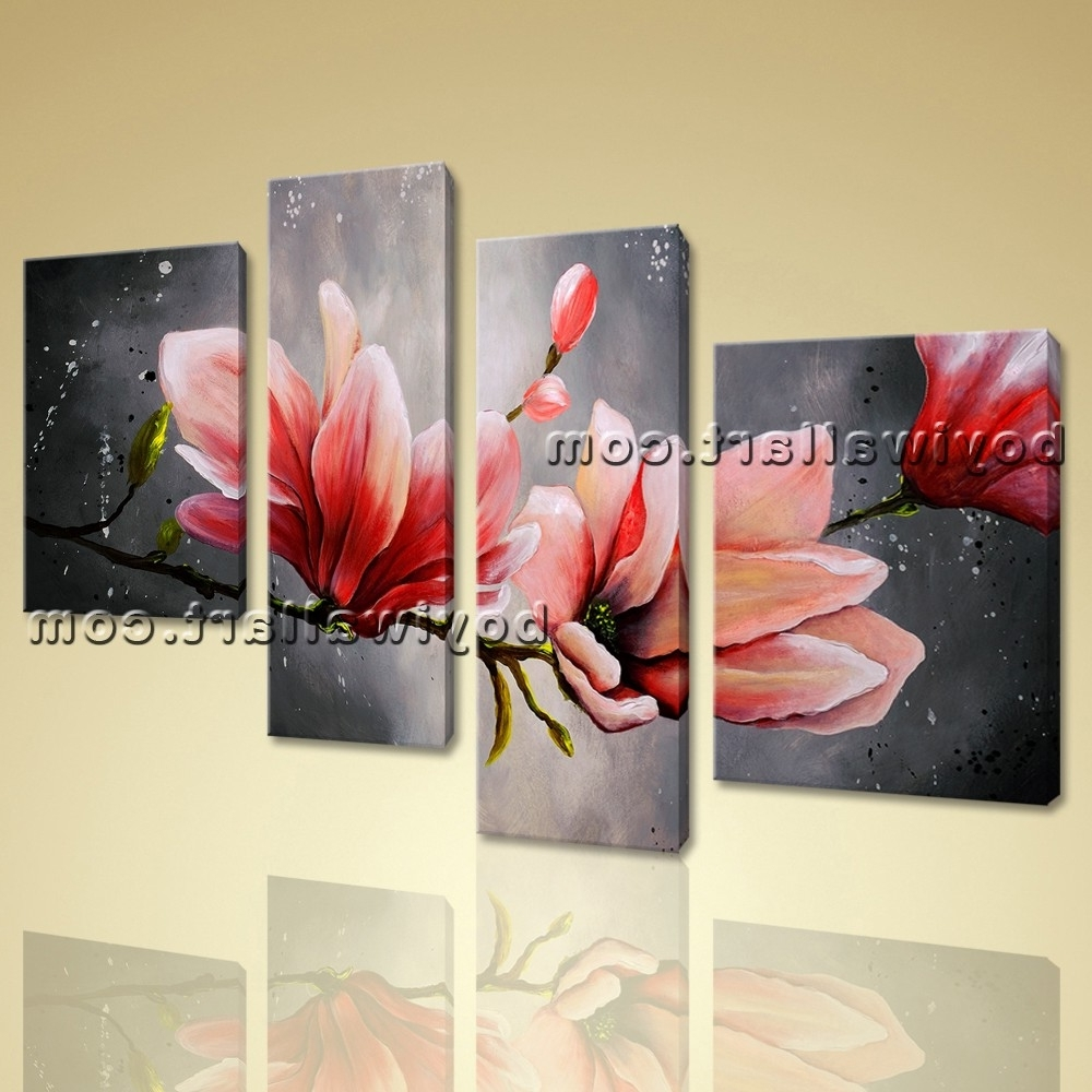 Most Recently Released Canvas Wall Art Tulip Flower Abstract Floral Painting Giclee Print For Abstract Flower Wall Art (View 2 of 15)