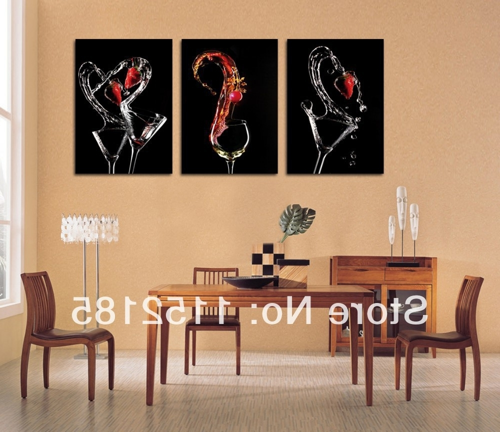 Most Recently Released Free Shipping Black Wine Glasses Abstract Still Life3 Piece Canvas Intended For Abstract Wall Art For Dining Room (View 2 of 15)