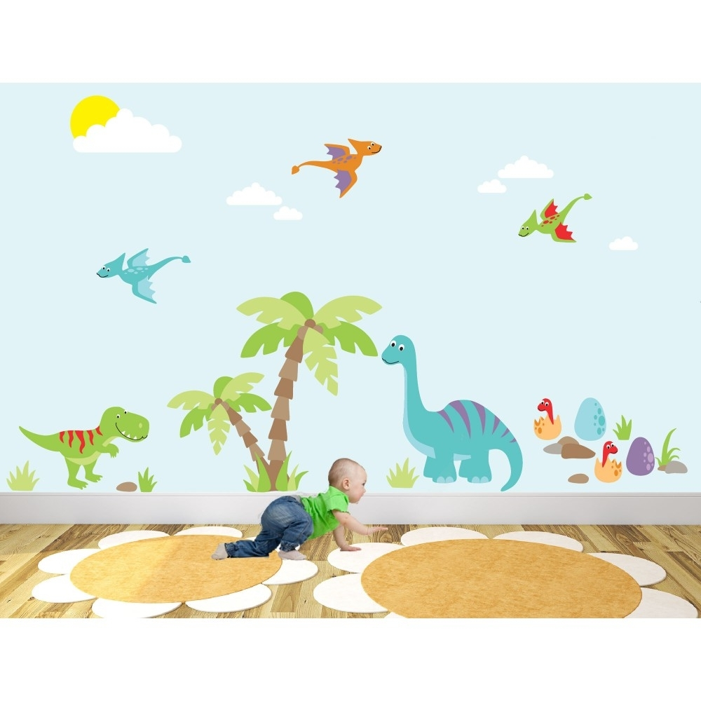 Most Recently Released Luxury Dinosaur Nursery Wall Art Sticker Scenes With Regard To Dinosaur Wall Art For Kids (View 13 of 15)