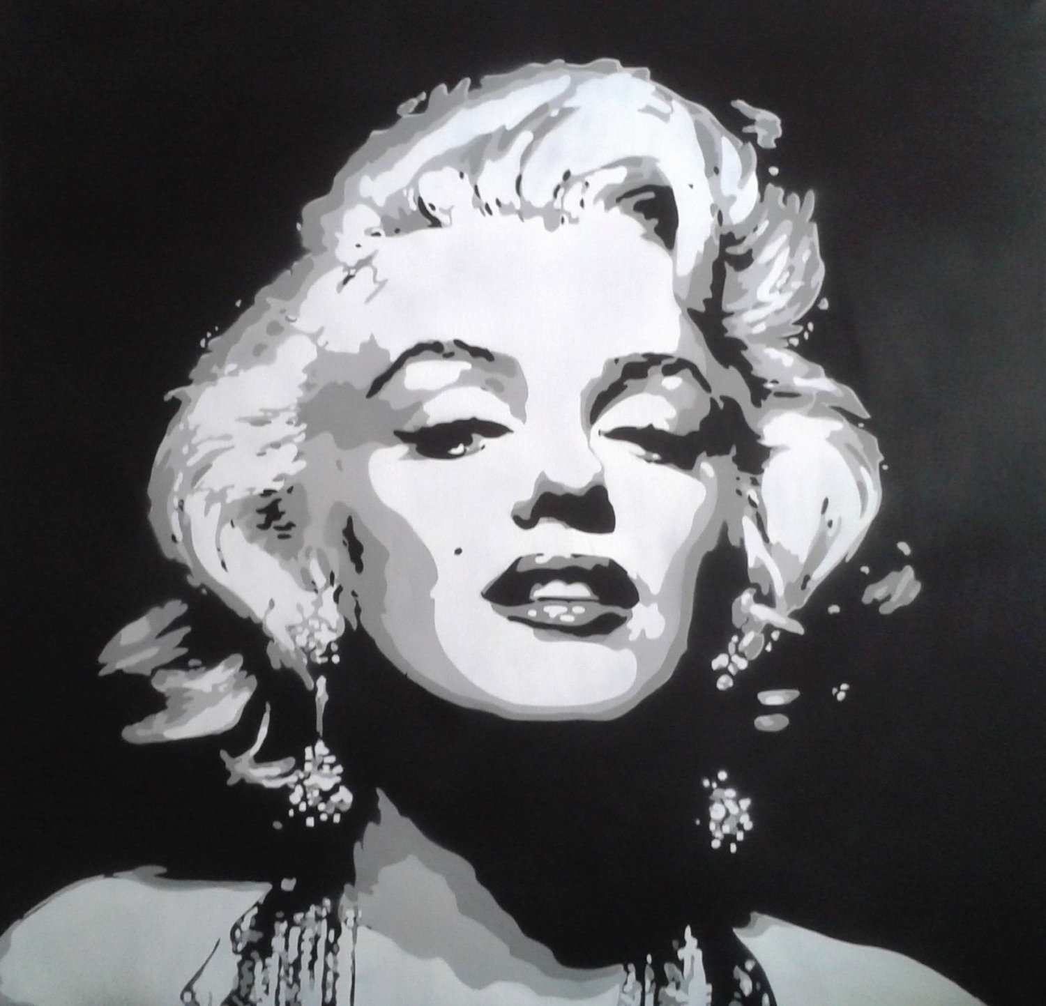 Most Recently Released Marilyn Monroe Black And White Wall Art With 1 Digital Download,marilyn Monroe Painting,canvas,large,stencil (View 4 of 15)