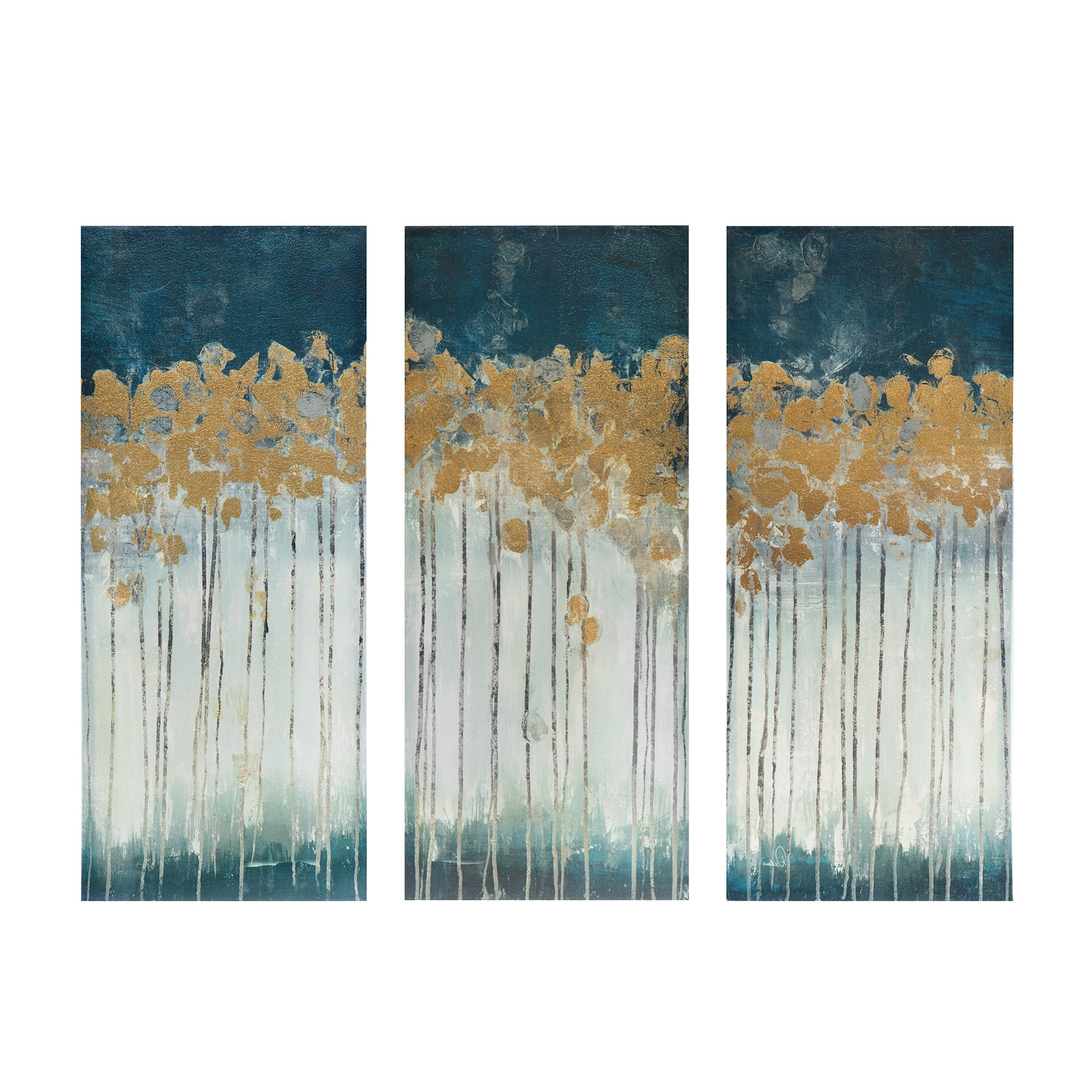 Most Recently Released Midnight Forest' Gel Coat Canvas Wall Art With Gold Foil Intended For 3 Piece Wall Art (View 14 of 15)