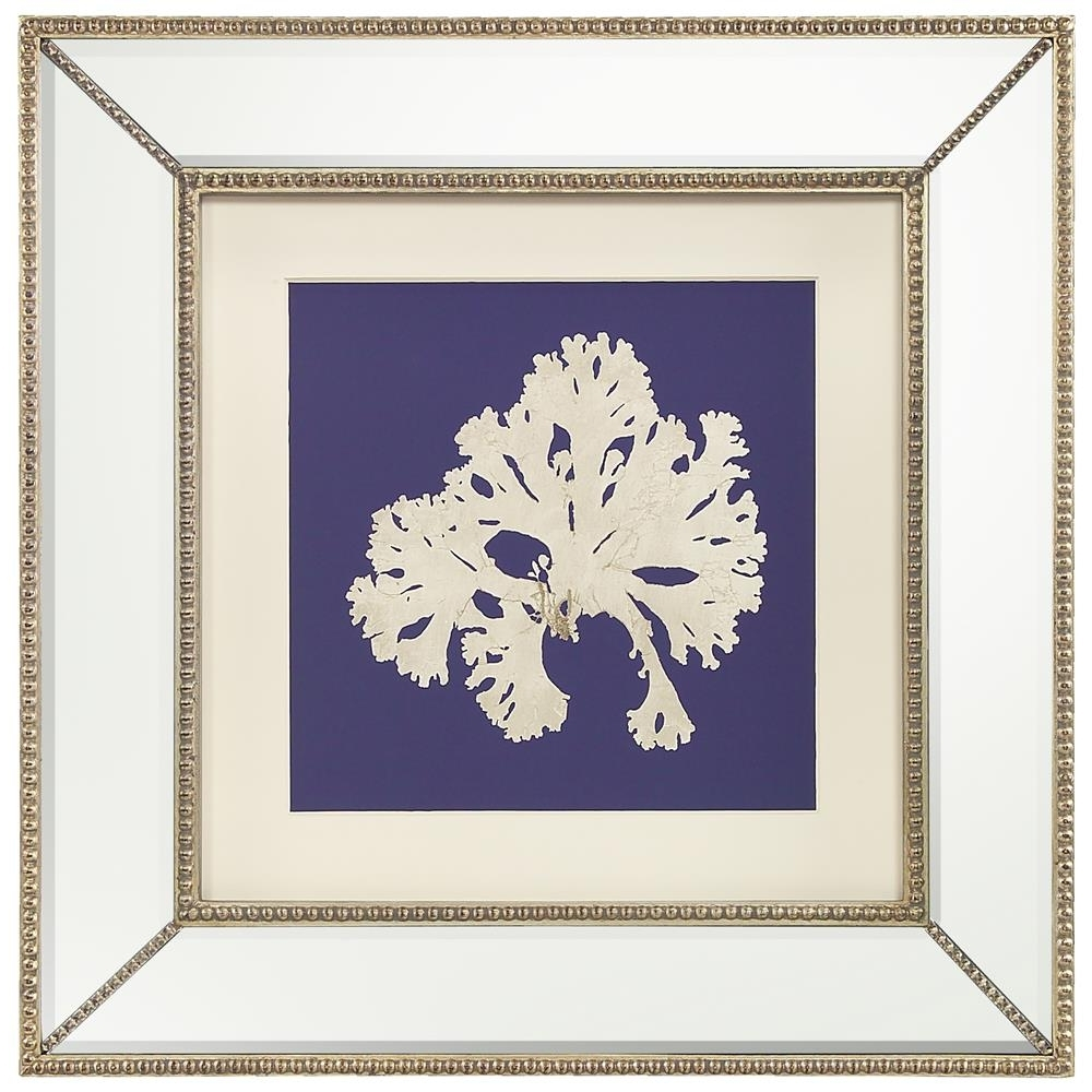 Most Recently Released Mirrored Frame Wall Art Regarding Seaweed Flora Coastal Beach Ivory Navy Blue Silhouette Mirror (View 14 of 15)