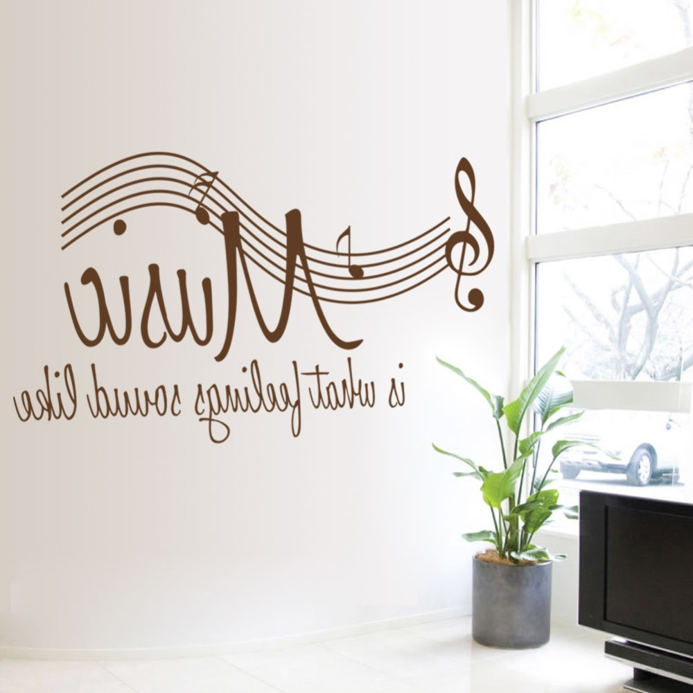 Most Recently Released Music Theme Wall Art Within 57*106cm Wall Sticker Music Is Feeling Theme Music Bedroom Decor (View 7 of 15)