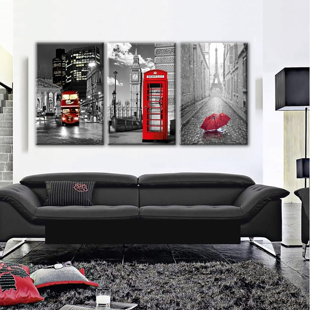Most Recently Released Paris Black And White With Eiffel Tower Red Car Umbrellas Wall Art Intended For Red And Black Canvas Wall Art (View 6 of 15)