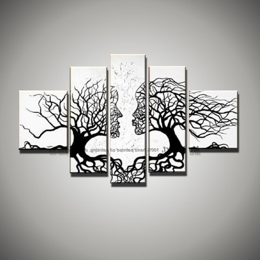 Most Recently Released Picture Canvas Wall Art Black White Painting Art Modern Abstract With Regard To Black And White Abstract Wall Art (View 15 of 15)