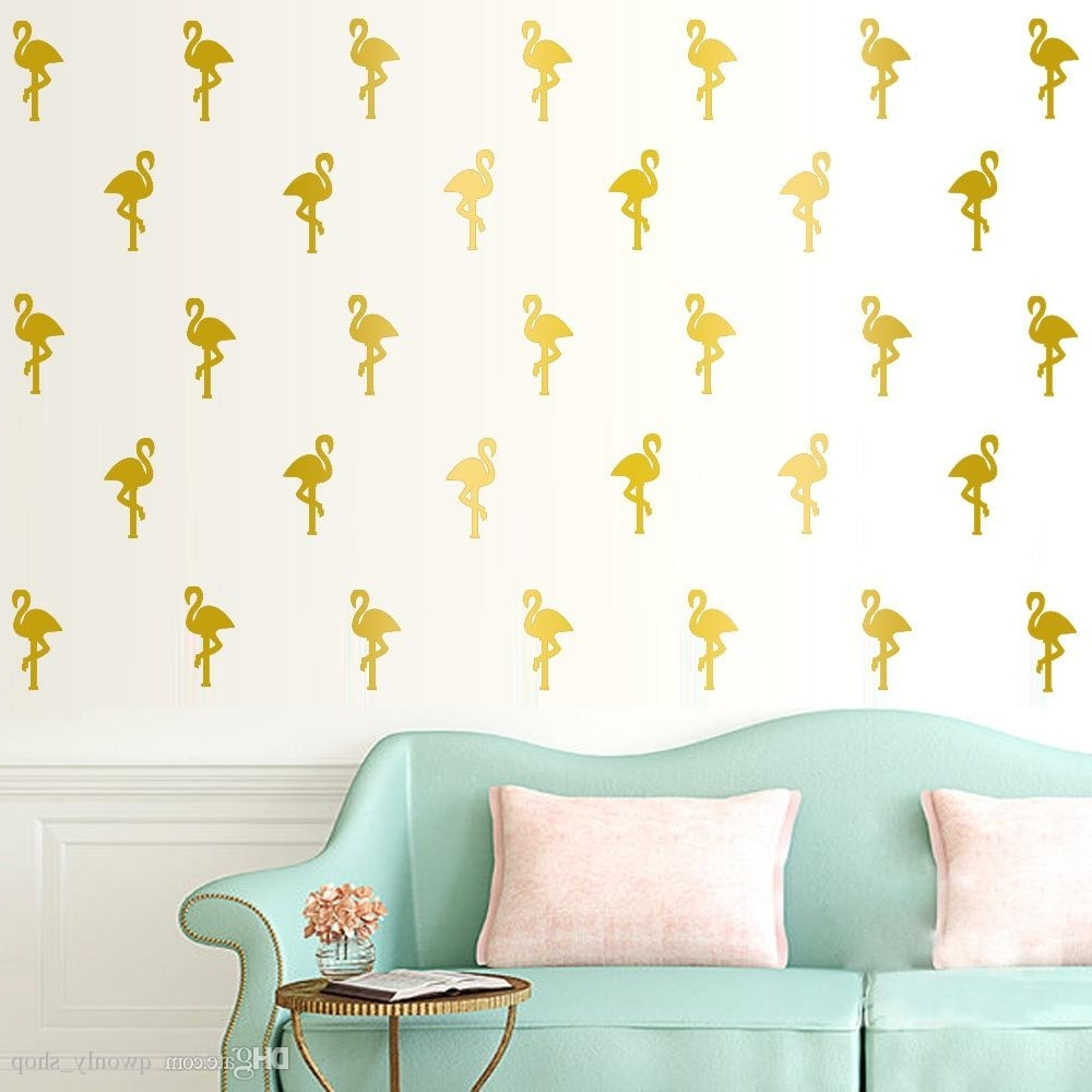 Most Recently Released Pink Flamingo Wall Stickers White Little Swan Wall Decals Within Gold Wall Art Stickers (View 10 of 15)