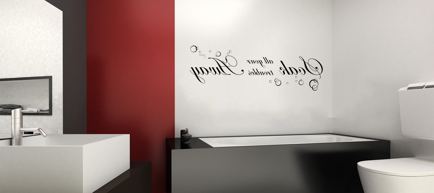 Most Recently Released Red Bathroom Wall Art Within Appealing Bathroom Wall Art With Cool Stickers Design Mounted On (View 10 of 15)