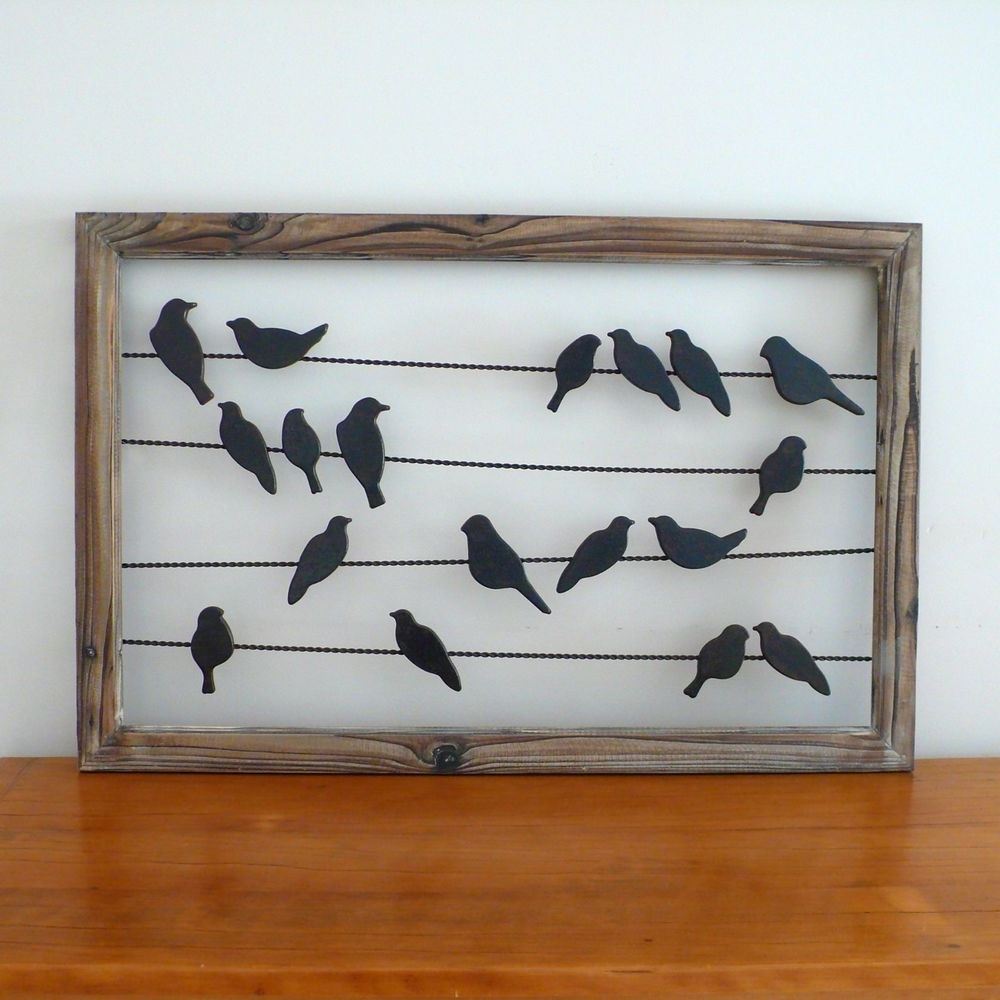 Most Recently Released Rustic French Country Metal & Wood Birds On Wire Wall Hanging Art Pertaining To Birds On A Wire Wall Art (View 9 of 15)