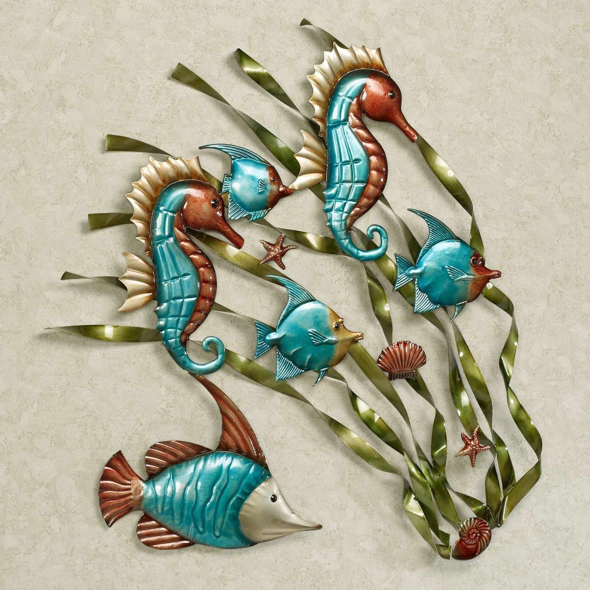 Most Recently Released Turquoise Metal Wall Art Inside Deep Sea Fish And Seahorse Metal Wall Art (View 5 of 15)