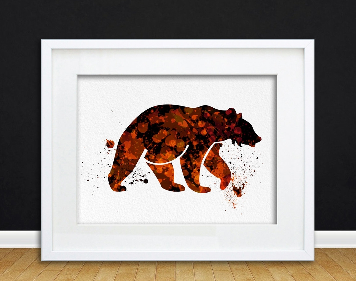 Most Recently Released Watercolor Art Print Bear Woodland Animal Orange Black Modern 8X10 Within Animal Wall Art (View 9 of 15)