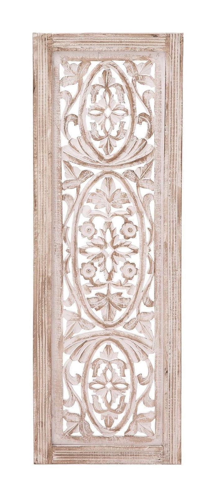 Most Recently Released White Washed Carved Wood Wall Art Panel Shabby Country Cottage Intended For Wood Wall Art Panels (View 7 of 15)
