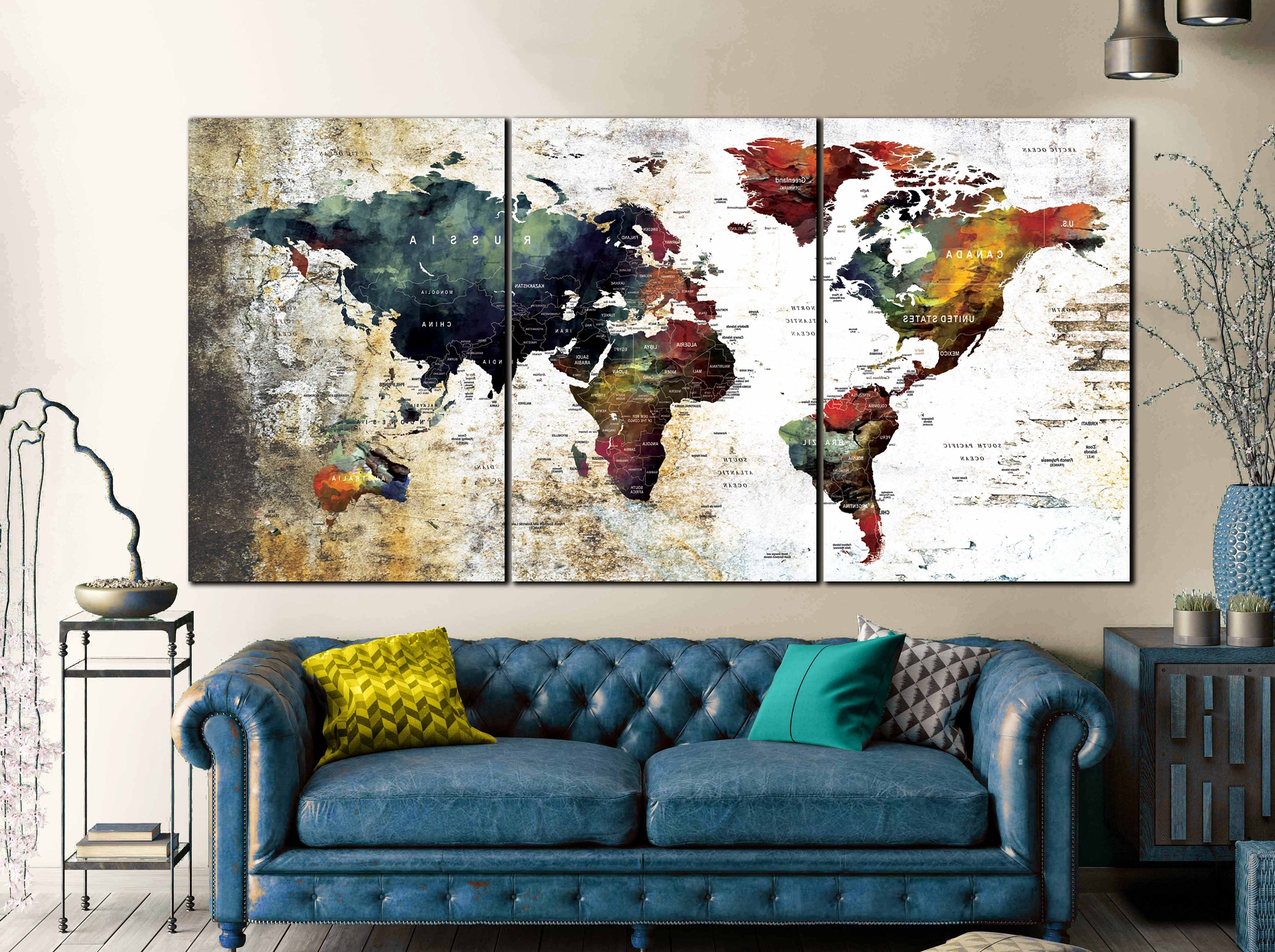 Most Recently Released World Map Abstract,world Map Wall Art,world Map Art,world Map In Abstract World Map Wall Art (View 9 of 15)