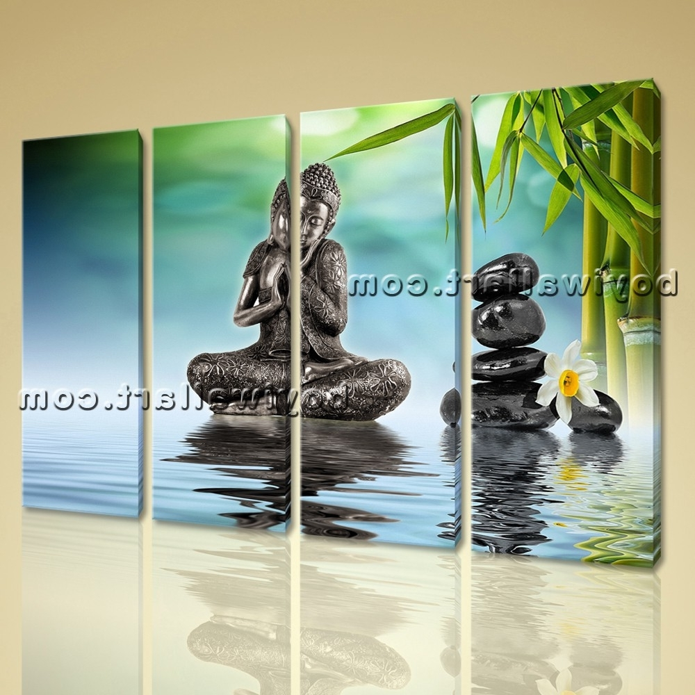 Most Recently Released Yin Yang Wall Art In Buddha Yin Yang Painting Home Decor Living Room Four Pieces Print (View 15 of 15)