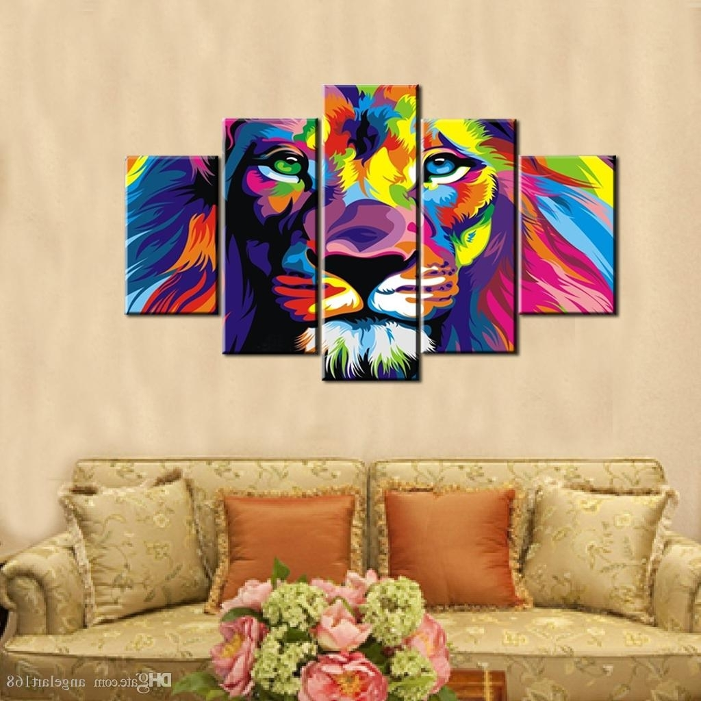 Most Up To Date 2018 Colourful Lion Wall Art Oil Painting On Canvas No Frame With Regard To Abstract Lion Wall Art (View 10 of 15)