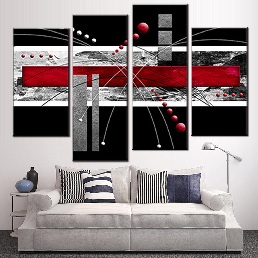 Most Up To Date 4 Pcs/set Canvas Wall Art Picture Red Black Grey Combined Canvas Inside Red And Black Canvas Wall Art (View 7 of 15)