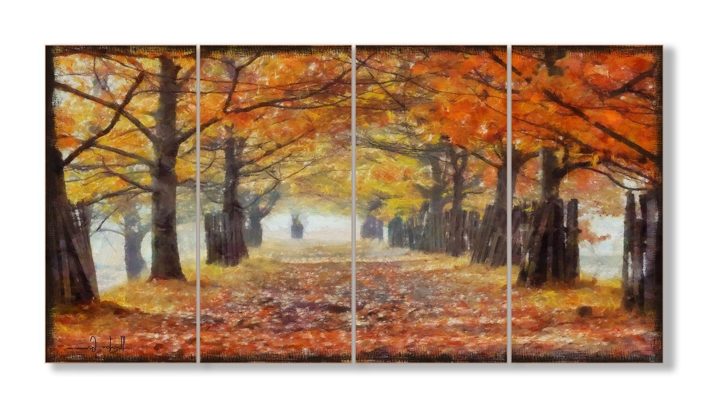 Most Up To Date 4 Piece Wall Art Throughout Stupell Industries A Walk Through The Autumn Trees 4 Piece Canvas (View 11 of 15)
